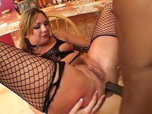 Fishnet girl gets a full black service