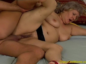 Crazy old mom gets fucked hard with big cock and oral