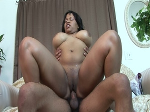 Fat ebony whore rammed hard on her shaved wet pussy