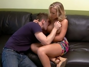 It's time for Nicole to let him feel her big tits and tight pussy