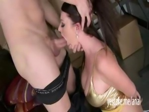 Big tits Sophie Dee throatfucked and anal reamed for a facial