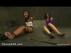 Two babes strapped and gagged o ... free