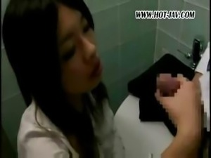 Young Japanese office tramp gets it on with her dirty old boss