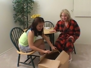 Old grannies gives young niece dildo