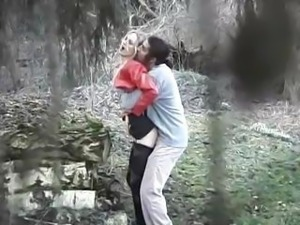 Blonde gets nailed in the forest and blows before fucking