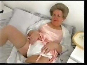 Chubby Old Granny Teases In Satin Lingerie And Nylon Stockings