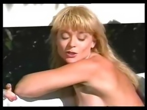 Classic Nina Hartley porn in a threesome eating and banging cock