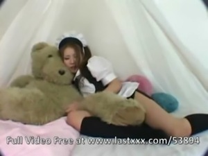 Cute Japanese teen maid masturbates free