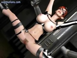 Animated redhead with massive melons gets them squeezed and pinched in 3D