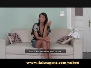 FakeAgent. Business class brunette fucked senseless.