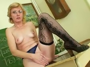 Milf teacher nasty fingering after having a class
