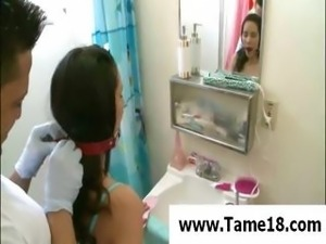 Hot young brunette housewife slave gets her daily dose of pleasure and pain