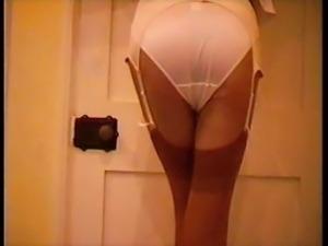 Vintage White Girdle Over Sexy Panties