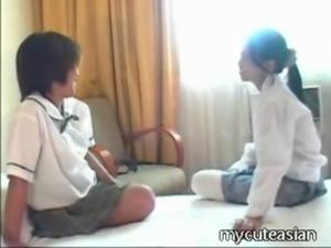 Two teen lesbian Asian girls fu ... free