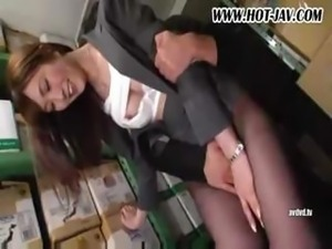 Japanese hottie bimbo gets herself fucked in the warehouse and in the bedroom