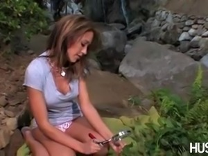 Capri Cavalli fucks in a nature