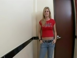 Nasty blonde babe in bathroom