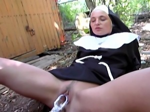 Innocent looking nun is a cock hungry slut as she rides that hard cock and...