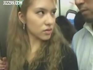 two anthomaniac girls in train gives geek handjob