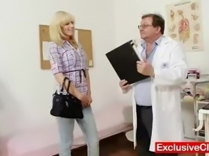 Blonde Bella Morgan visit gynoclinic to have her pussy gyno exami