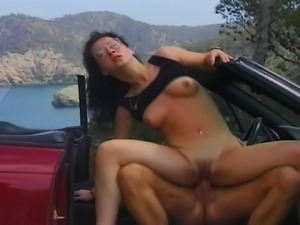 Hot and busty babe stopped a lucky dude who drove her far away. She is a real...