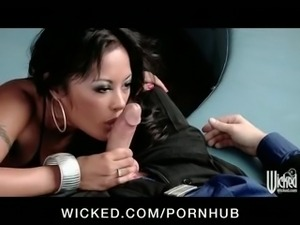 HOT working girl Kaylani Lei fucks husband while his wife watches
