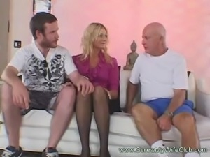 Horny Blonde wife craved for a huge cock