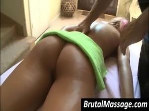 Blondie gets ass oil massaged free