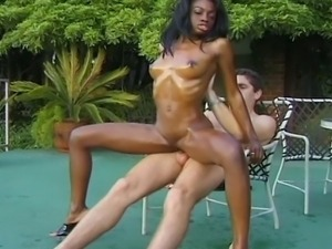 Hot interracial outdoor action featuring a horny black MILF getting her pussy...