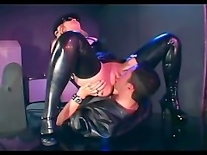 Female officer fucking in shiny latex lingerie