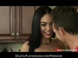 Hot & horny Latina babe Selena Rose fucks big-dick in the kitchen
