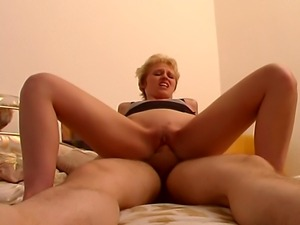 Top class horny blond diva spreads her legs wide and guided her partner into...