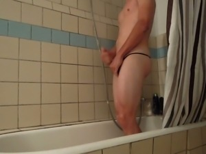 My friend Bettys thong Cuming in shower!