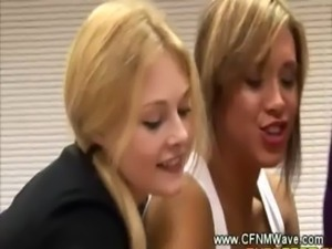 Dirty cfnm sluts eagerly jerk a ... free