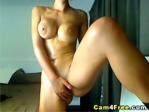 Huge tits busty whore playing dildo and pussy in hot webcam solo