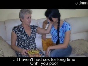 Old granny having fun with young girlfriend