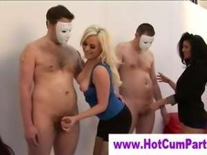 Mature cfnm sluts get handjobs down on random guys
