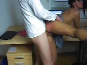 Hot as hell secretary - fuck and facial on desk
