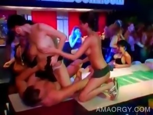Party chicks fucking at CFNM orgy