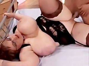 Chubby blonde with large breasts fucking