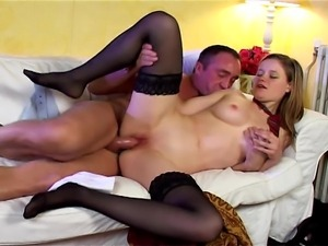 This girl gets turned on by her hot boyfriend before she finds his cock in...
