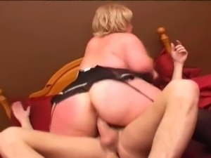 A Blonde big girl gets her big tits out and gets fucked by some loser.