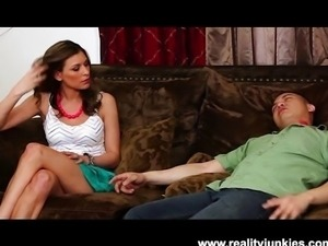 Brunette bitch cheats on her passed out man