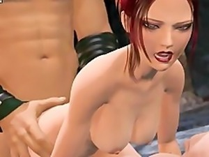 Hot animated gets double penetrated