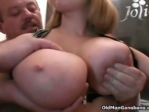 One man is just not enough to satisfy this insatiable bigtitted cutie in sexy...