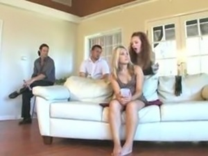 couple dominate woman while husband watches