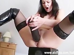 Extreme monster dildo fucking orgasms