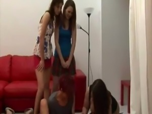 Clothed chicks in a handjob battle free