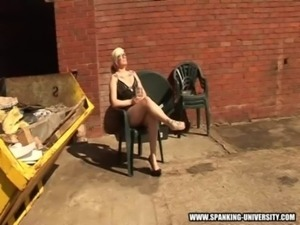 Mandy has her ass spanked outside free