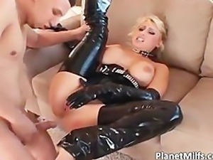 Nasty blond MILF with pierced pussy gets